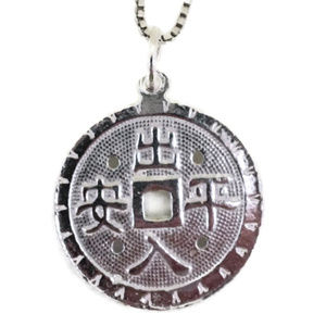 white gold on silver pendant large protection